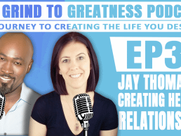 podcast image of writer Jay Thomas and Mary Hodges owner of Grind to Greatness